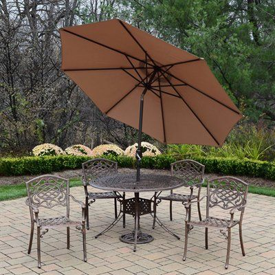Oakland Living Mississippi 7-Piece Outdoor Dining Set #home decor sale & deals Cushion Color:Without Cushion(s), Umbrella Color:Champagne Mississippi 7-Piece Outdoor Dining Set Crisp, stylish, traditional lattice pattern and scro...
