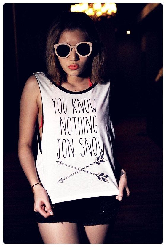 You Don't Know Nothing Jon Snow, Game Of Thrones Tank Shirt Sideboob Sexy Summer Short Tops Size S, M, L