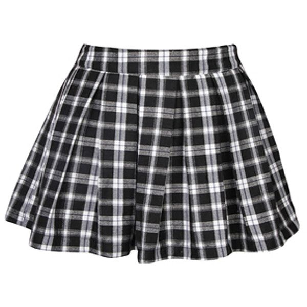 Black and white check skirt