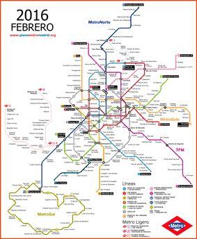 Madrid metro map 2016