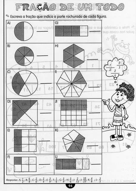 Atividades para o 4 ano com Frações Ensino Fundamental. | Aprender e Brincar