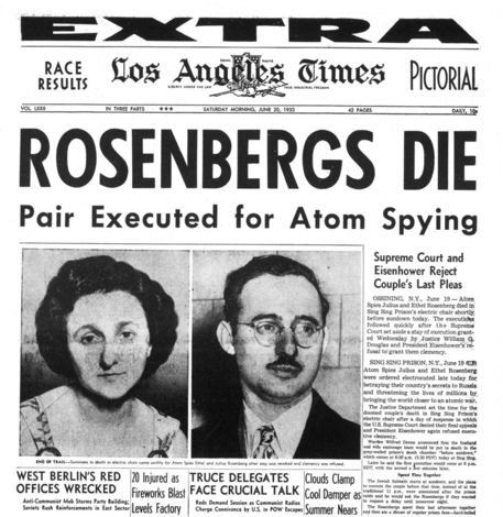 Ethel and Julius Rosenberg, the first American civilians put to death under Section 2 of the Espionage Act, were executed by electric chair at the Sing Sing Correctional Facility NYC on the 19th of June 1953 after being convicted of conspiracy to commit espionage in a time of war. Charges were related to passing atomic bomb secrets to Russian agents.