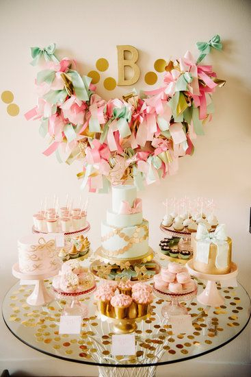 Bow-Inspired First Birthday Party in Pink, Gold, and Mint from the owner of Sweet and Saucy Shop