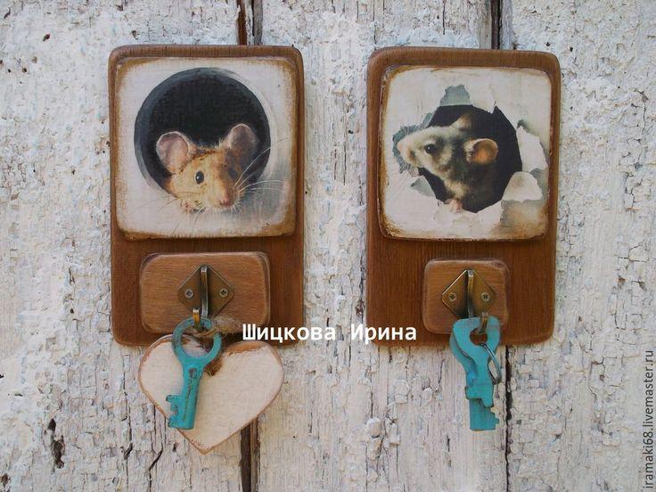 """Купить Вешалки-ключницы """"Не ждали?"""" - бежевый, мышки, вешалки, мышонок, ключницы, в прихожую, для детей"""