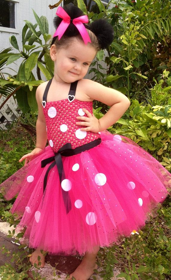 Pink Minnie Mouse Inspired Tutu Dress Costume with White Polka Dotted Accents (sizes newborn-4t). $35.00, via Etsy.