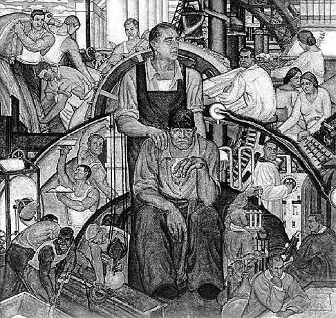1934: This mural by Conrad A. Albrizio was funded by the Federal Project Number One, a subdivision of the Works Progress Administration (WPA). During the Depression, Federal One provided work and income to those Americans involved in the arts: artists, writers, actors, and musicians.  National Archives