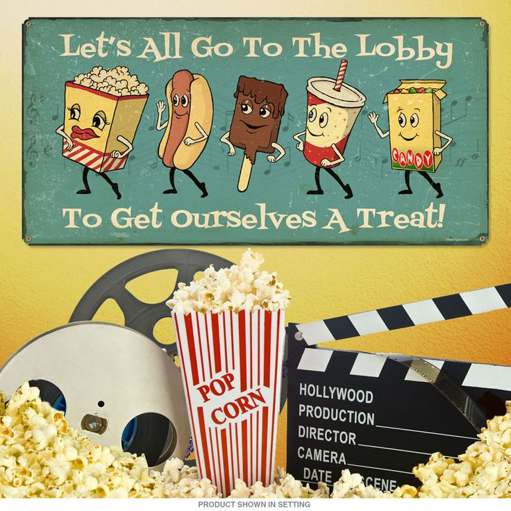 Theater Room Snack Bar: Lets Go Lobby Dancing Snacks Metal Sign 24 X 12