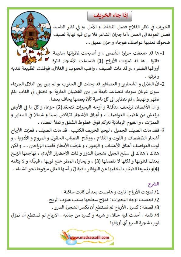 نص وصف الخريف Madrassatii Com Arabic Alphabet For Kids Arabic Alphabet Learn Arabic Language