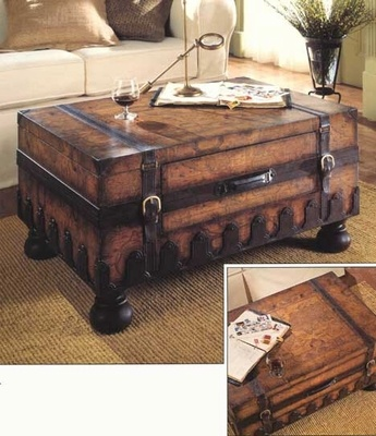 Old World Map Trunk Coffee Table - click to enlarge
