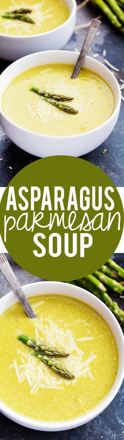 Asparagus Parmesan Soup - on the table in 30 minutes with cheesy parmesan and a hint of lemon!