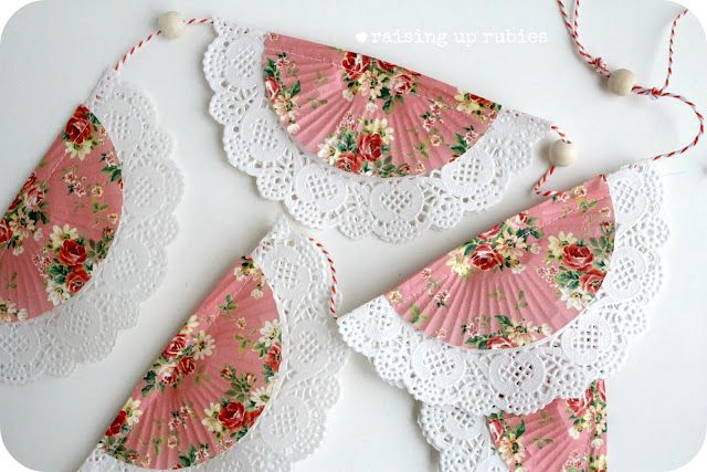 Raising up Rubies: Pretty Valentines Day Bunting ... ♥ using doilies and cupcake liners