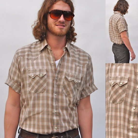 VTG 70s Mens Short Sleeve Shirt Plaid by BluegrassVoodoo on Etsy, $24.00