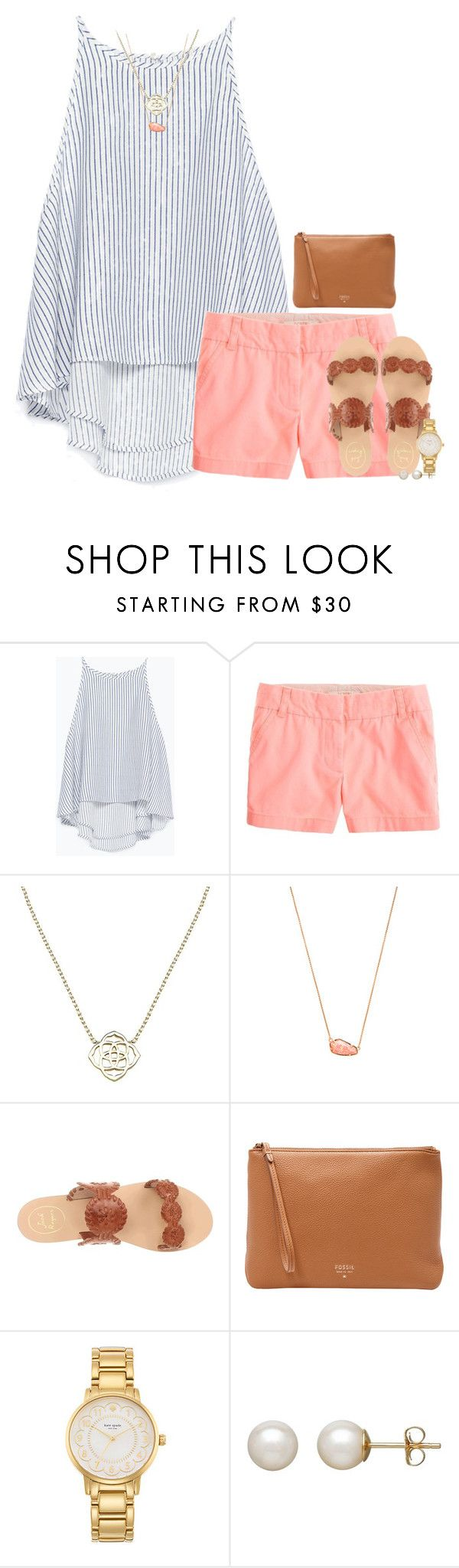 """She lost him, but found herself, and somehow that was everything."" by kate-elizabethh ❤ liked on Polyvore featuring Zara, J.Crew, Kendra Scott, Jack Rogers, FOSSIL, Kate Spade, Honora, women's clothing, women and female"