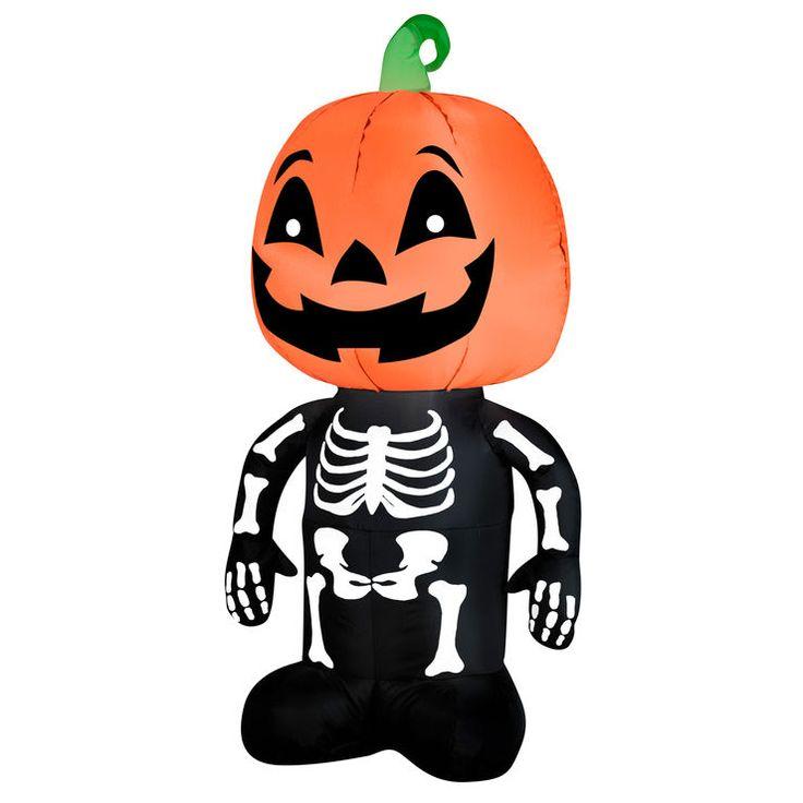 4 ft pumpkin skeleton inflatable halloween yard - Halloween Inflatable Yard Decorations