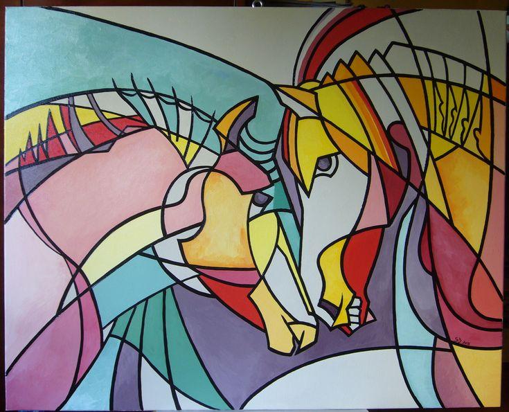 Horses- oil on canvas, 80/100 cm, 2016, Derecichei Simona Mihaela