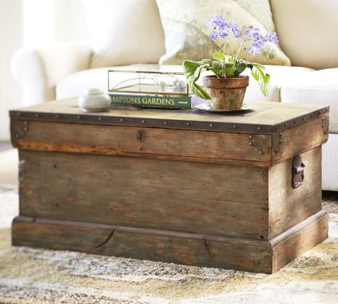 Rebecca Trunk by Pottery Barn. I am considering something like this as my coffee table for my living room. I like the time-worn, nautical, driftwood-like appearance. I'll bet I can find a genuine antique that is similar. What do you think?