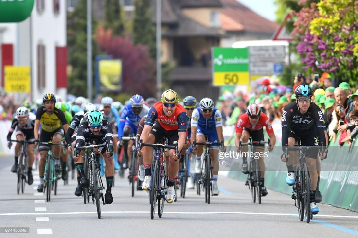 #TDR2017 71st Tour de Romandie 2017 / Stage 3 Arrival / Elia VIVIANI (ITA) Celebration / Sonny COLBRELLI (ITA)/ Michael SCHWARZMANN (GER)/ Payerne - Payerne (187Km) /