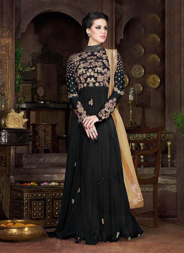 #Black Net #Long #Semi-#Stitched #Anarkali #Style Suit #nikvik  #usa #designer #australia #canada #freeshipping