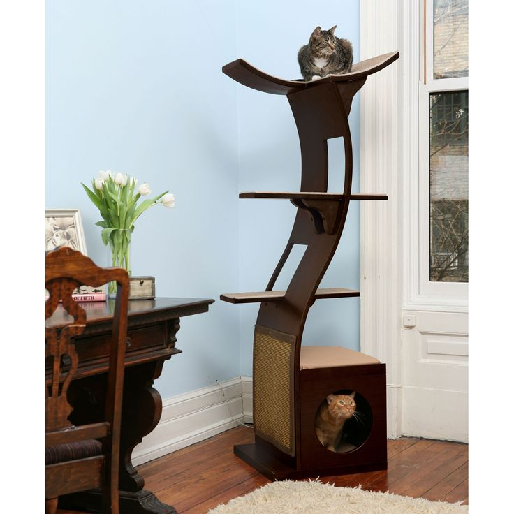 Cat furniture that actually makes for nice wall art / room sculpture - The Refined Feline Lotus Tower Cat Tree in Espresso from PetcoCat Furniture, Cat Condo, Lotus Cat, Cat Towers, Pets, Refined Feline, Crazy Cat, Cat Trees, Cat House