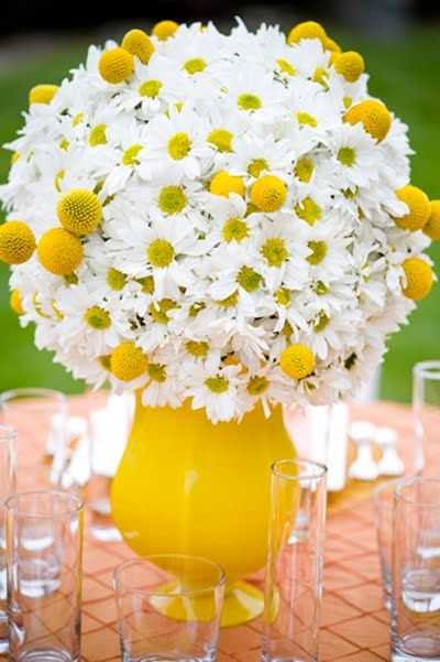 """A big fluffy ball of daisies accented with yellow """"billy balls"""". Paired with the unique footed yellow vase, it really conveys the message of a relaxed summertime soiree!"""