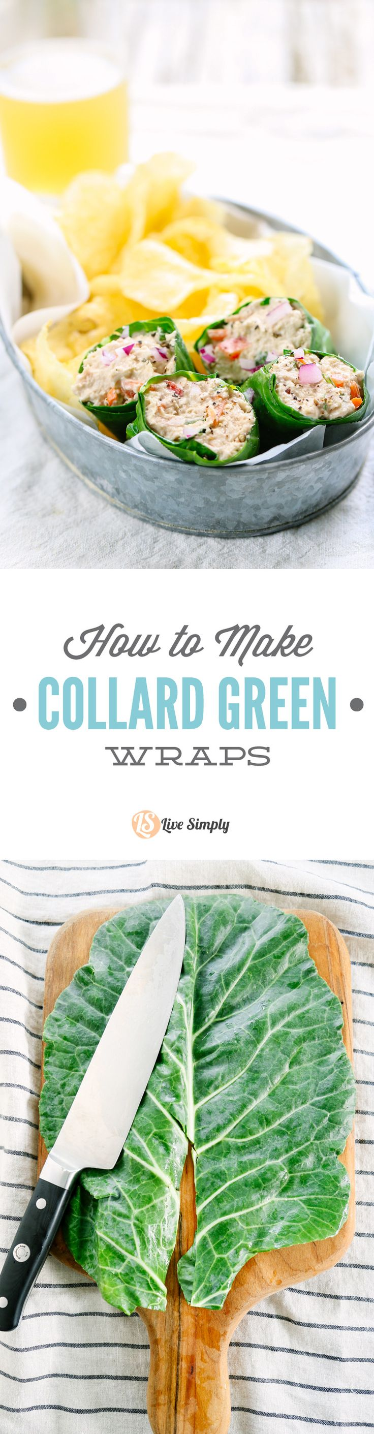 "Such a fun way to enjoy leafy greens! I fill these wraps with chicken salad, tuna salad, veggies, or ""cleaner"" lunchmeat and cheese. So yummy!"
