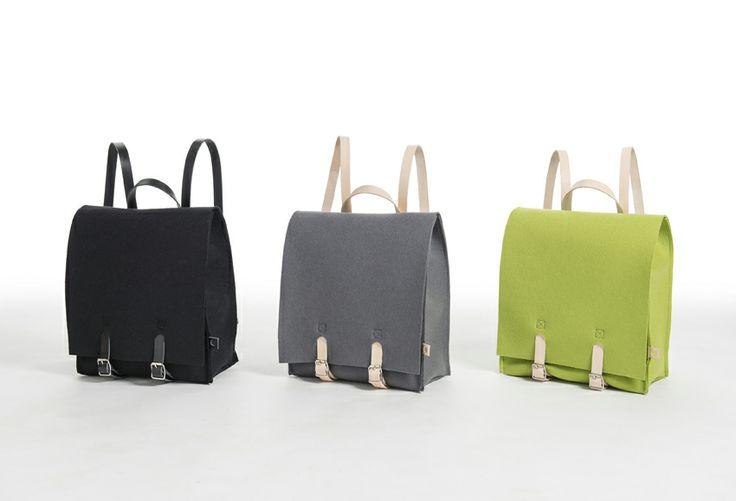 Jonas Hakaniemi for Lahtiset, JHFL 05, http://www.lahtiset.fi/fi/jhfl/jonas-hakaniemi-for-lahtiset.html #jonashakaniemi #lahtiset #felt #leather #backpack #black #grey #green #lime