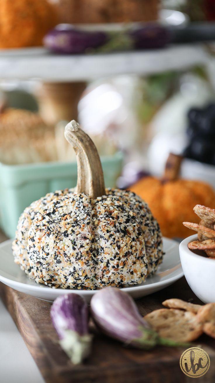 Everything Bagel Cheeseball - pumpkin fall cheeseball appetizer entertaining recipe #cheese #cheeseball #everythingbagel #recipe
