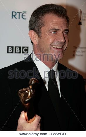 DUBLIN, IRELAND - FEBRUARY 17: Mel Gibson with his Outstanding Contribution to World Cinema Award at the Irish Film - Stock Photo