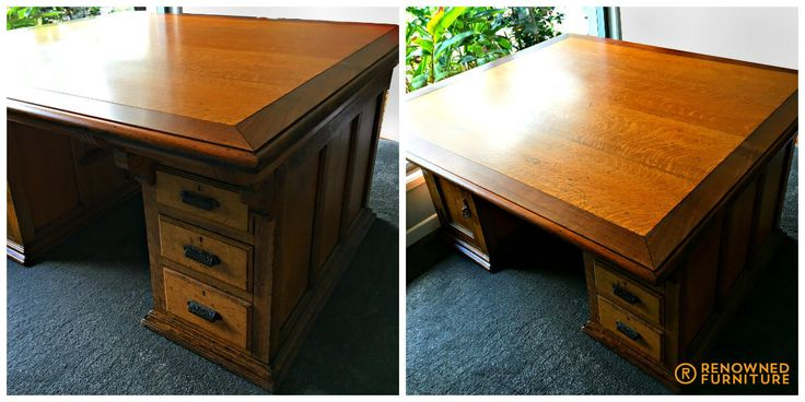 Don brought  this solid old partners desk in for a refresh after being exposed to some moisture in storage. Now, it's looking brand new again!  http://renownedfurniture.com.au/restoration/dons-old-partners-desk/  #diningchairs #chairs #furniture #woodfurniture #restoration #furniturerepair