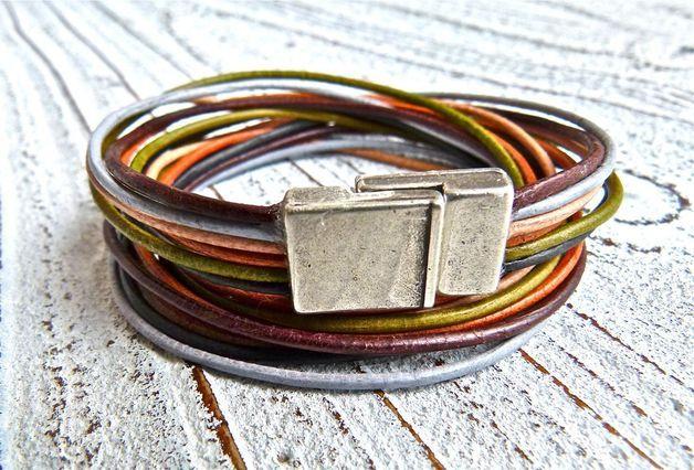 Wickelarmband Leder Farbmix braun Hitverdächtig!!!! Wunderschönes 6-reihiges Armband aus weichem Ziegenleder in tollen Farben (hellbraun, mittelbraun, dunkelbraun, hellgrau, olivgrün und...