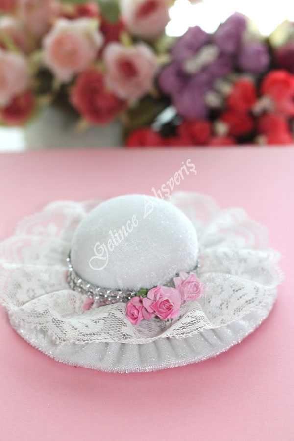 Şapka İğnelik- İğnedanlık Beyaz