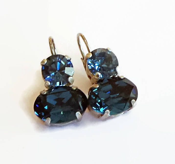 Swarovski Crystal montana and denim blue  14X10mm oval fancy stone leverback drop earrings by CrystallizedByLena on Etsy