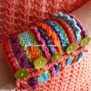 """Karin on the hook: Bracelet """"Because I Love Color""""  *love Karin's work <3"""