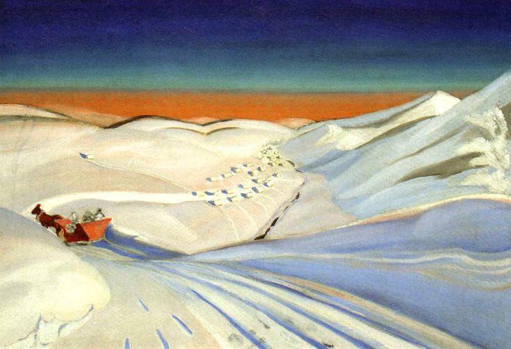 Pejzaż z saniami, Rafał Malczewski, olej na płótnie 62,5 x 90 cm