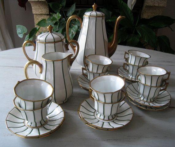 Service à café Porcelaine Limoges Raynaud Art Déco