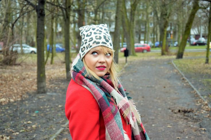Moja Stylizacja: Panterka, Krata i Czerwony Płaszcz #fashionstreet #streetstyle #style #look #blogger