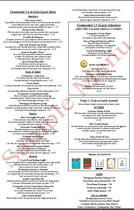 CommanderS Palace Sample Lunch Menu  Cent Martinis Limit