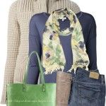 Abstract Floral Scarf Winter Outfit