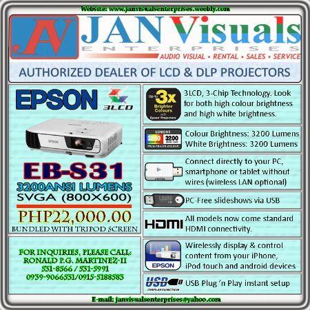Epson EB-S31 LCD Projector, Epson E-S31 Projector, Portable EB-S31 Epson Projector, Epson HDMI Projector, Epson LCD Projector, Epson Office Model Projector, Epson Projector, 3200 Ansi Lumens Epson Projector, Affordable Epson Projector -- Projectors Mandaluyong, Philippines