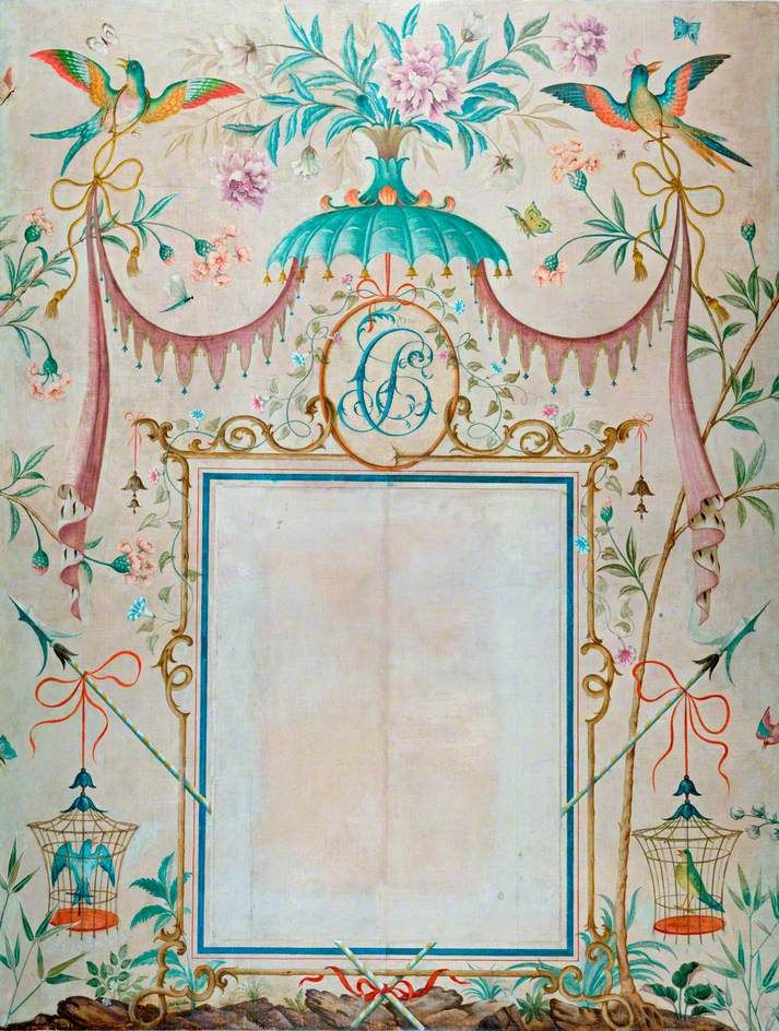 Rex whistler BBC - Your Paintings - Wallpaper in the Chinoiserie Style, with a Picture Frame as its Central Motif, Painted to House Picasso's 'L'enfant a...