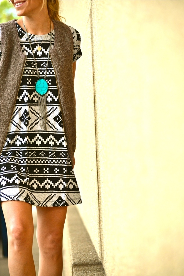 .: Fall Style, Turquoise, Dresses, Aztec Dress, Black