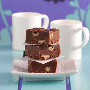 Three-Chocolate Fudge Recipe from Taste of Home -- shared by Betty Grantham, Hanceville, Alabama