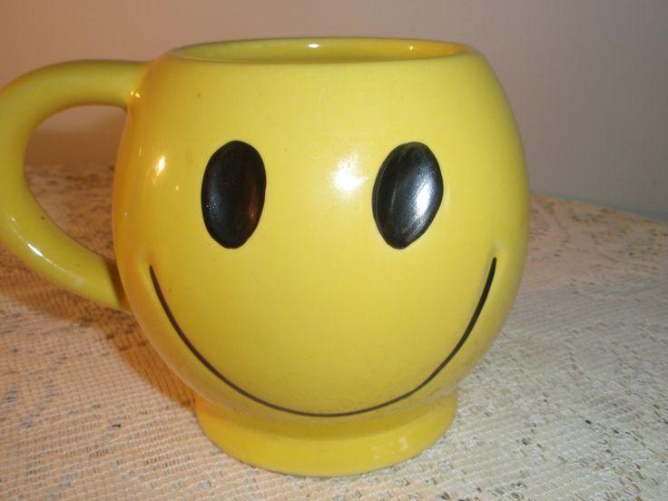 Happy Face Mug,Retro Smiley Face Cup,Retro Smiley Face, collectible ceramic mug with Happy Face ,Emoji, Great desk pencil holder or vase by SocialmarysTreasures on Etsy