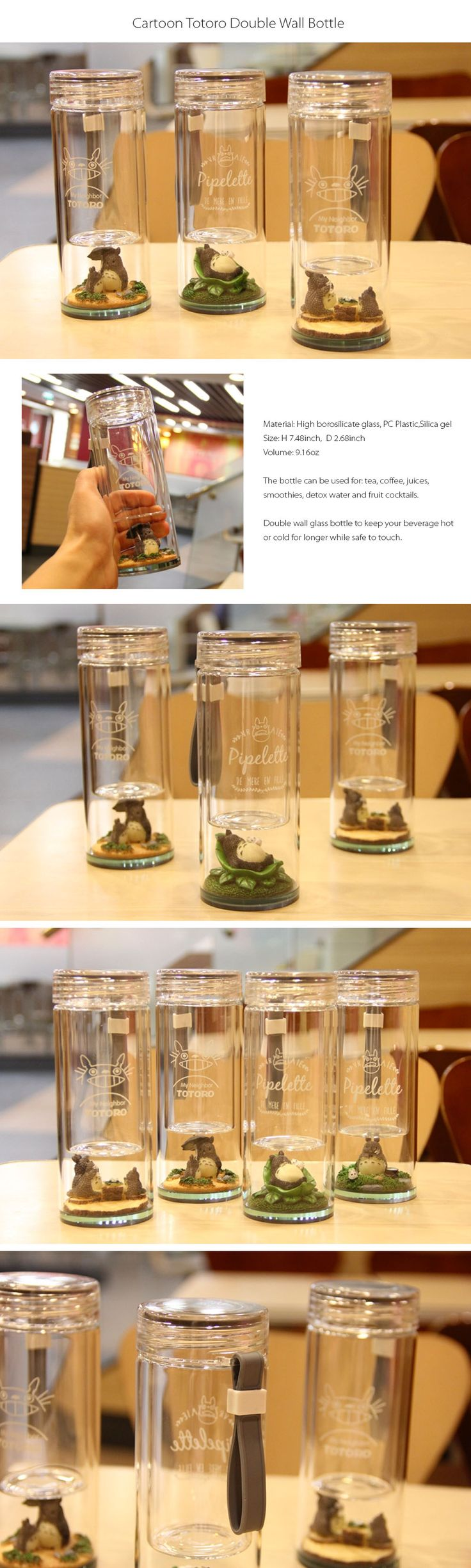 Micro Totoro Water Bottle Have Totoro in Your Bottle