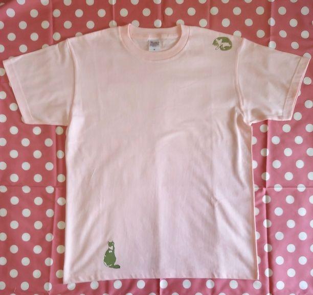 2匹の猫Tシャツ ライトピンク画像1