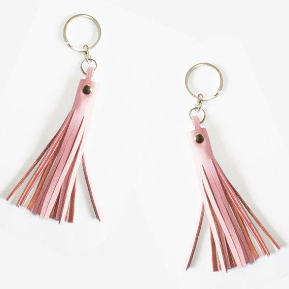 Set of Two Pastel Pink Leather Keychain by MAHARANIatelier on Etsy
