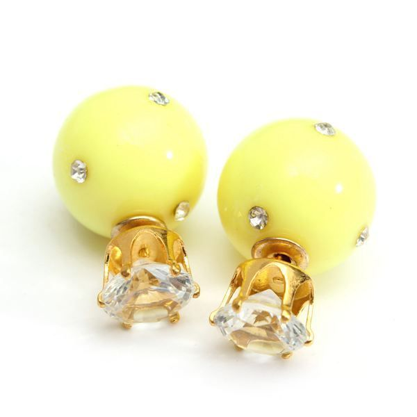 Candy color double side ball crystal crown stud earrings for women 18k earrings #3d #printed #earrings #earrings #for #sensitive #ears #earrings #kendra #scott #earrings #on #guys