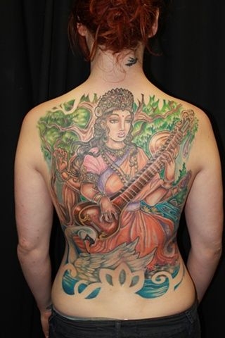 saraswati tattoos | Andi Jane's Tattoos - saraswati back piece