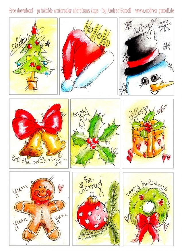 free printable Watercolor Christmas Gift Tags by andrea Gomoll - www.andrea-gomoll.de