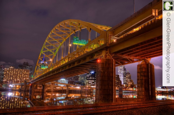 Pittsburgh's Fort Pitt Bridge at night reflected into the Monongahela River photo by Glen Green: Catch Photo, Green Photo, Rivers Photo